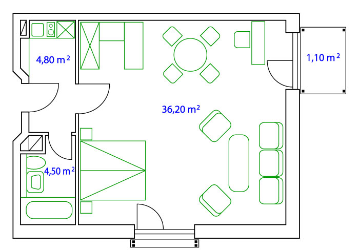 PLAN DOUBLE-APARTMENT  - 45 qm