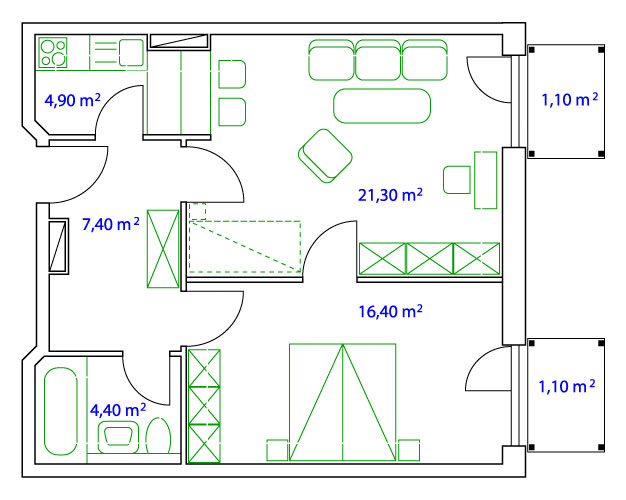 PLAN TWO-ROOM-SUITE - 55 qm