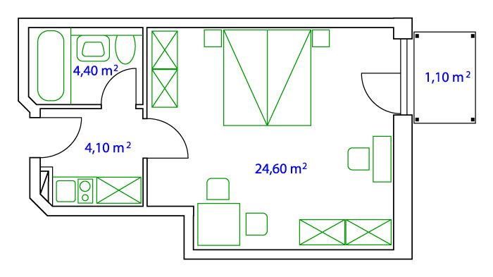 PLAN DOUBLE-APARTMENT  - 36 qm